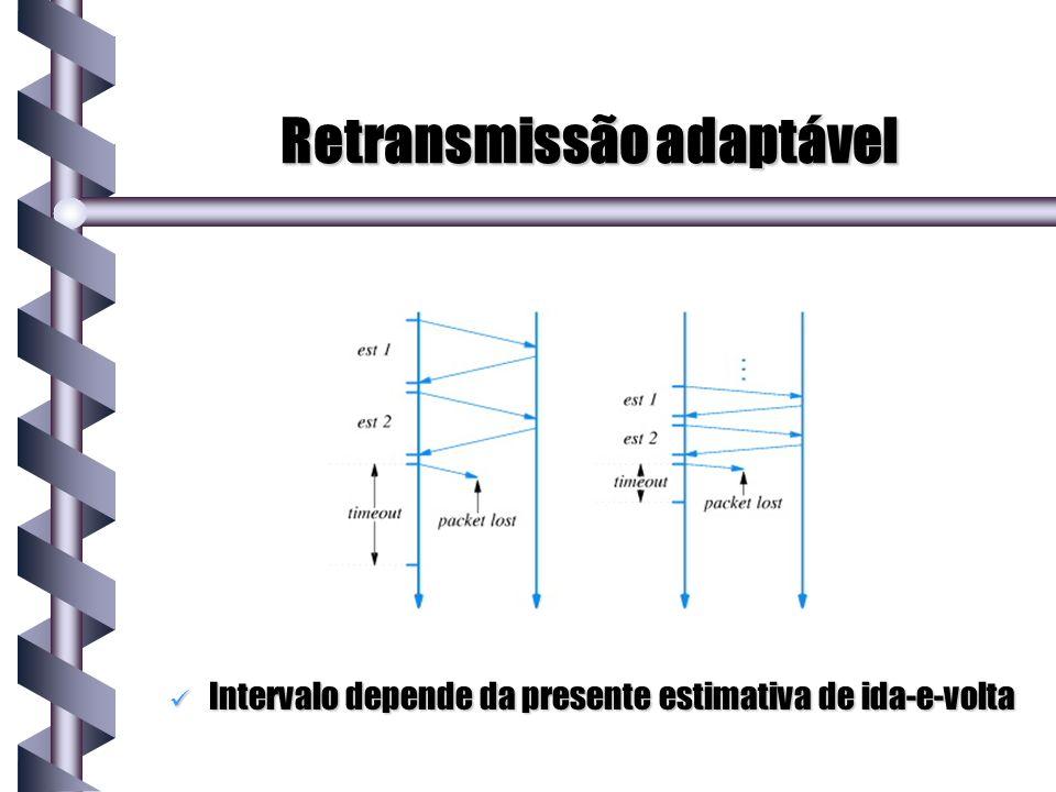 Retransmissão adaptável Intervalo depende da presente estimativa de ida-e-volta Intervalo depende da presente estimativa de ida-e-volta