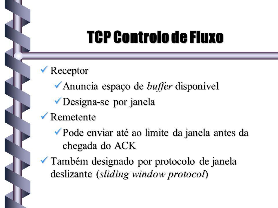 TCP Controlo de Fluxo Receptor Receptor Anuncia espaço de buffer disponível Anuncia espaço de buffer disponível Designa-se por janela Designa-se por j