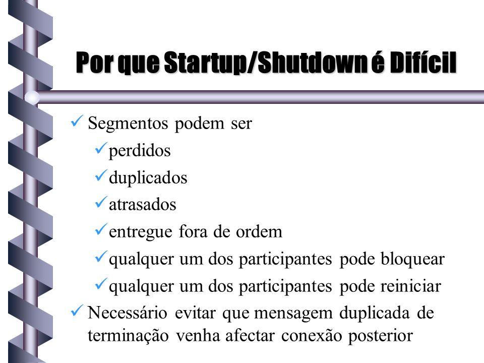 Por que Startup/Shutdown é Difícil Segmentos podem ser perdidos duplicados atrasados entregue fora de ordem qualquer um dos participantes pode bloquea