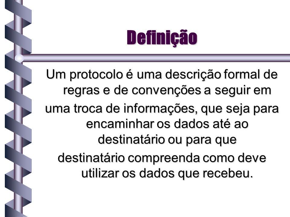 Definição Um protocolo é uma descrição formal de regras e de convenções a seguir em uma troca de informações, que seja para encaminhar os dados até ao