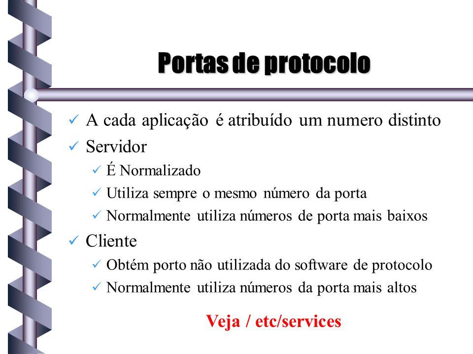 Portas de protocolo A cada aplicação é atribuído um numero distinto Servidor É Normalizado Utiliza sempre o mesmo número da porta Normalmente utiliza