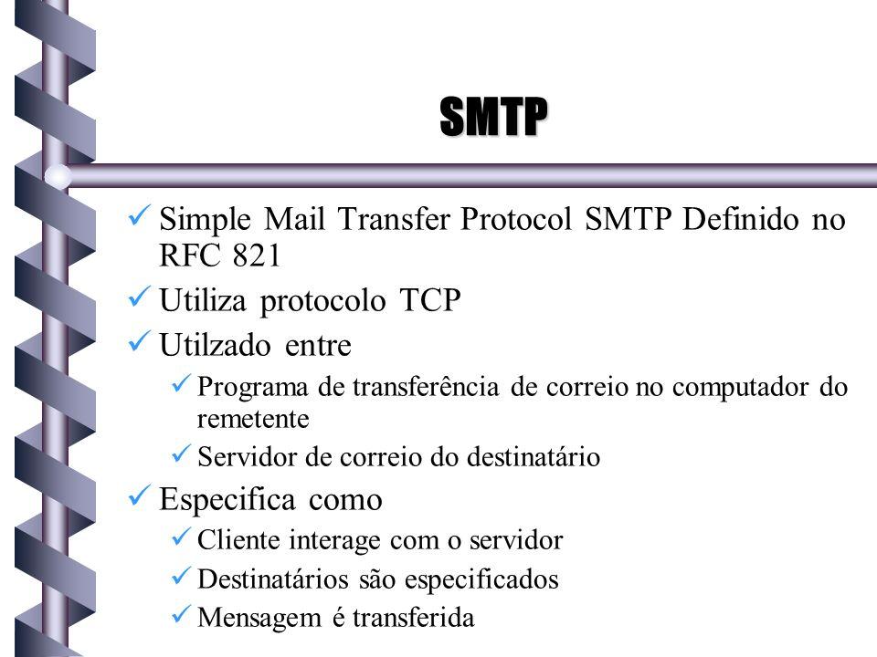 SMTP SMTP Simple Mail Transfer Protocol SMTP Definido no RFC 821 Utiliza protocolo TCP Utilzado entre Programa de transferência de correio no computad