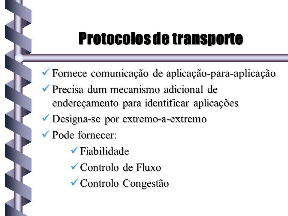 Protocolos de transporte Fornece comunicação de aplicação-para-aplicação Fornece comunicação de aplicação-para-aplicação Precisa dum mecanismo adicion