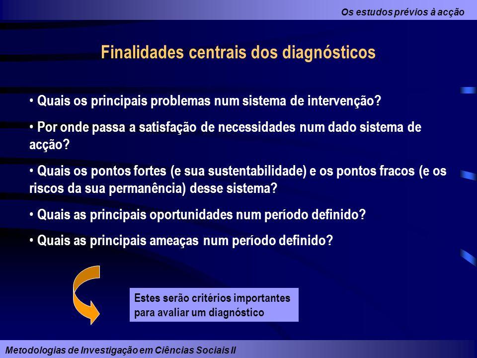 Os estudos prévios à acção Metodologias de Investigação em Ciências Sociais II Finalidades centrais dos diagnósticos Quais os principais problemas num