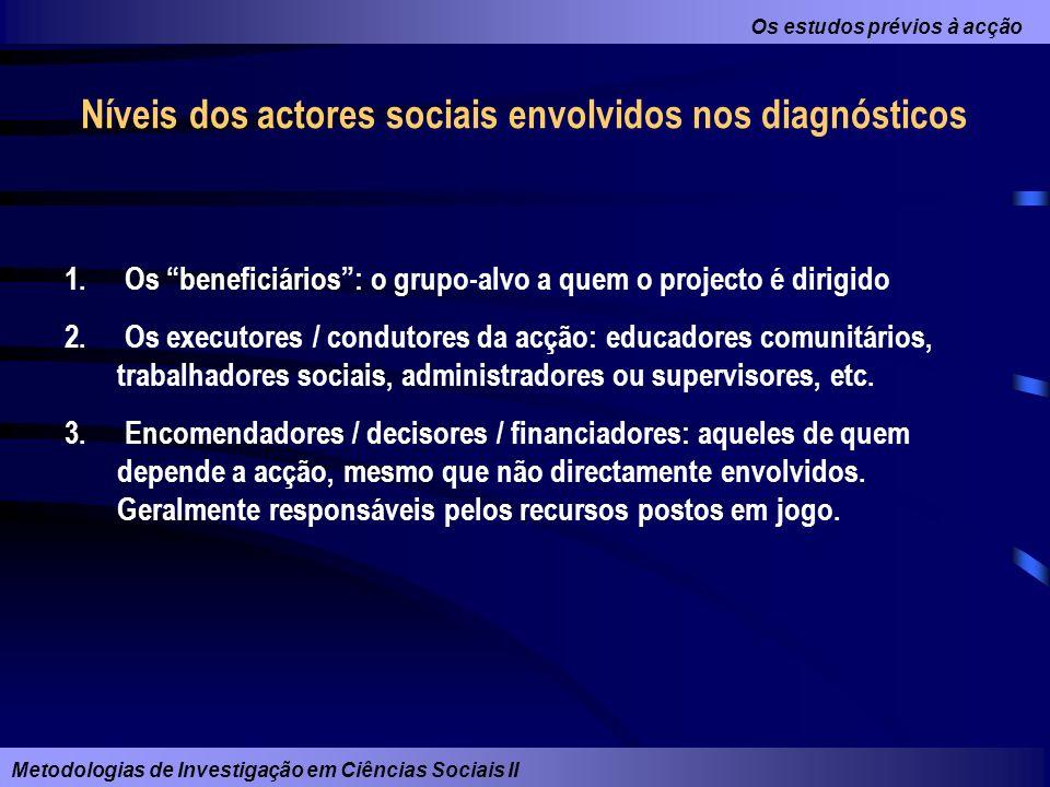 Os estudos prévios à acção Metodologias de Investigação em Ciências Sociais II Níveis dos actores sociais envolvidos nos diagnósticos 1. Os beneficiár