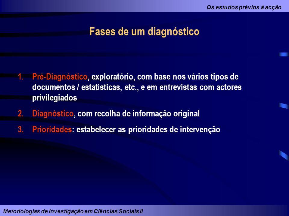 Os estudos prévios à acção Metodologias de Investigação em Ciências Sociais II Fases de um diagnóstico 1.Pré-Diagnóstico, exploratório, com base nos v