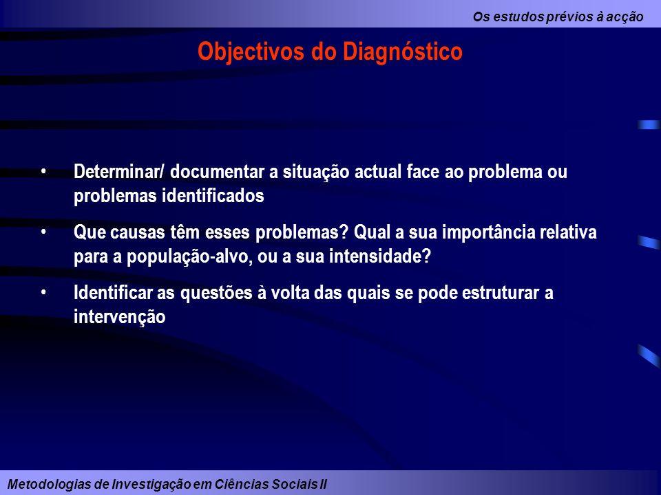 Os estudos prévios à acção Metodologias de Investigação em Ciências Sociais II Objectivos do Diagnóstico Determinar/ documentar a situação actual face