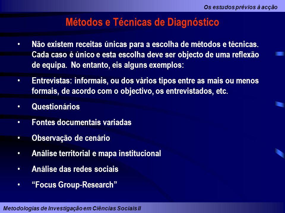 Os estudos prévios à acção Metodologias de Investigação em Ciências Sociais II Métodos e Técnicas de Diagnóstico Não existem receitas únicas para a es