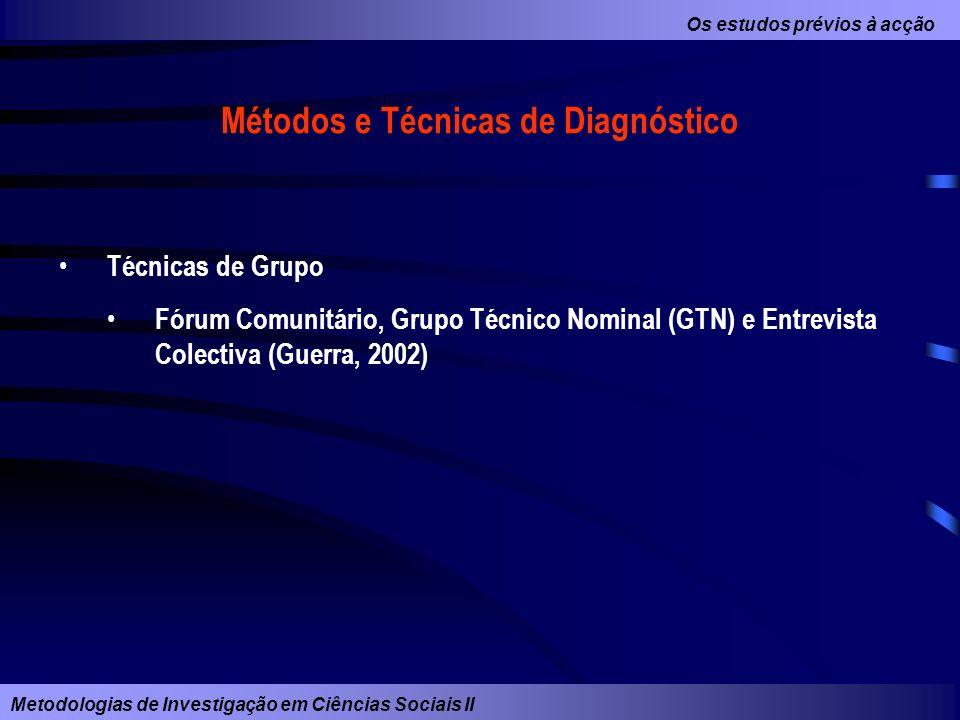 Os estudos prévios à acção Metodologias de Investigação em Ciências Sociais II Métodos e Técnicas de Diagnóstico Técnicas de Grupo Fórum Comunitário,