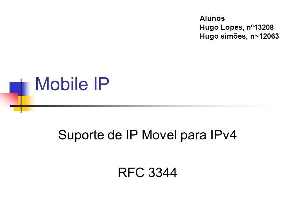 Mobile IP Suporte de IP Movel para IPv4 RFC 3344 Alunos Hugo Lopes, nº13208 Hugo simões, n~12063