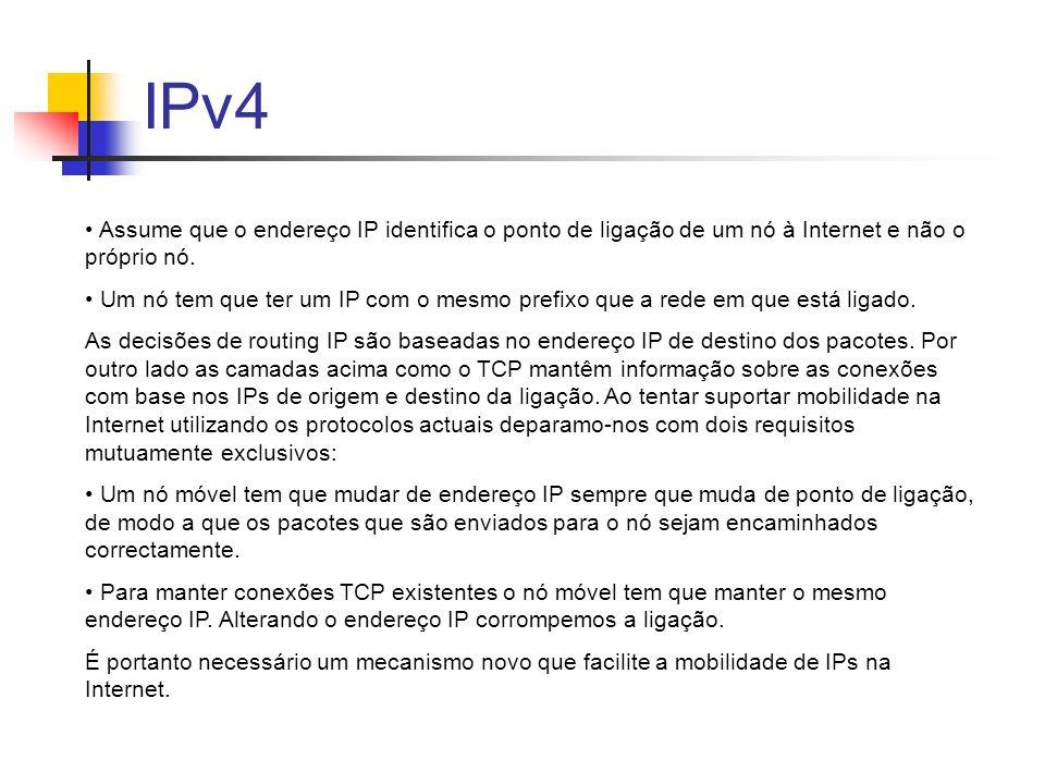IPv4 Assume que o endereço IP identifica o ponto de ligação de um nó à Internet e não o próprio nó.