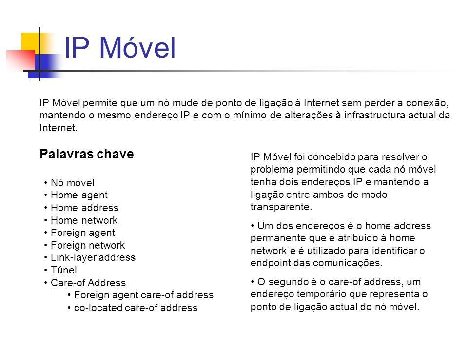 IP Móvel IP Móvel permite que um nó mude de ponto de ligação à Internet sem perder a conexão, mantendo o mesmo endereço IP e com o mínimo de alterações à infrastructura actual da Internet.