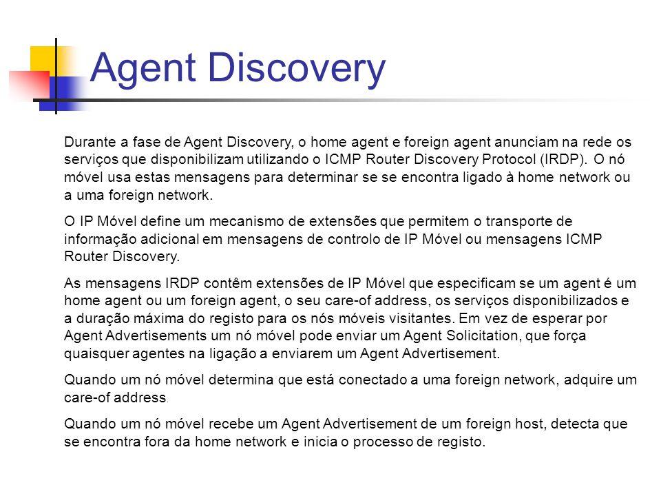 Agent Discovery Durante a fase de Agent Discovery, o home agent e foreign agent anunciam na rede os serviços que disponibilizam utilizando o ICMP Router Discovery Protocol (IRDP).