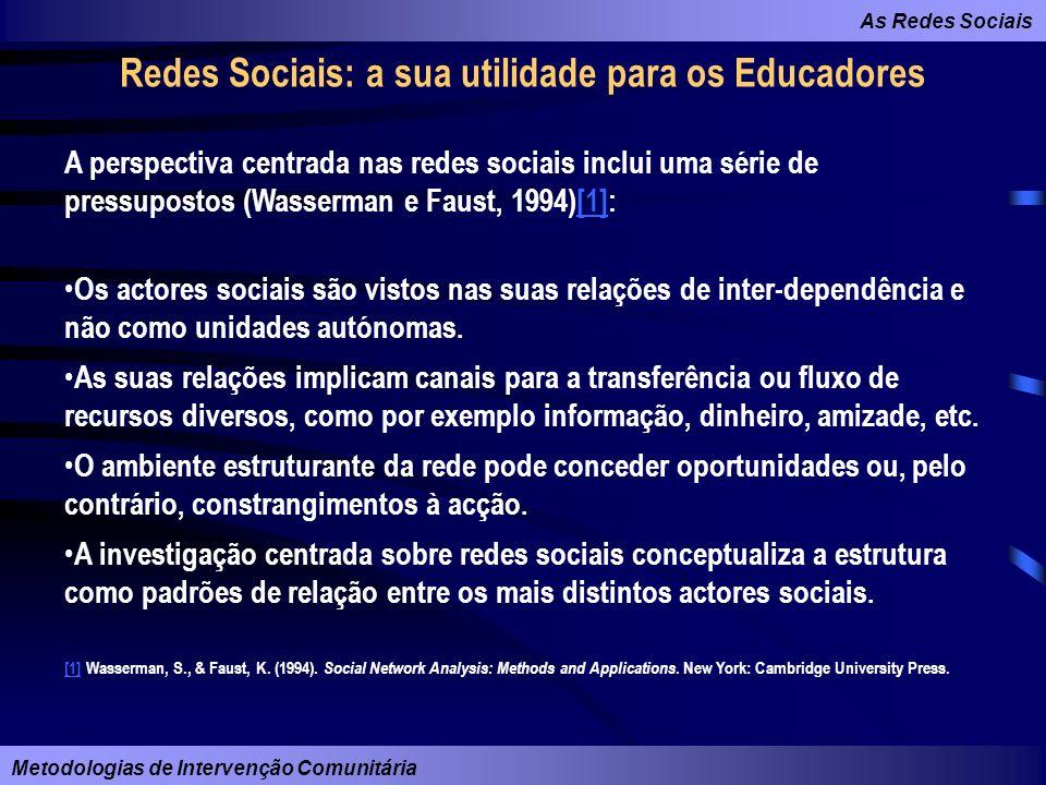 As Redes Sociais Metodologias de Intervenção Comunitária Redes Sociais: a sua utilidade para os Educadores A perspectiva centrada nas redes sociais in