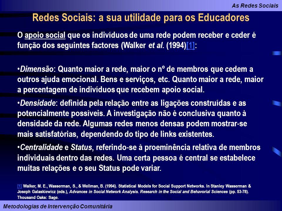 As Redes Sociais Metodologias de Intervenção Comunitária Redes Sociais: a sua utilidade para os Educadores O apoio social que os indivíduos de uma red