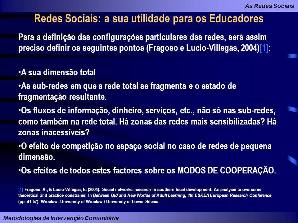 As Redes Sociais Metodologias de Intervenção Comunitária Redes Sociais: a sua utilidade para os Educadores Para a definição das configurações particul