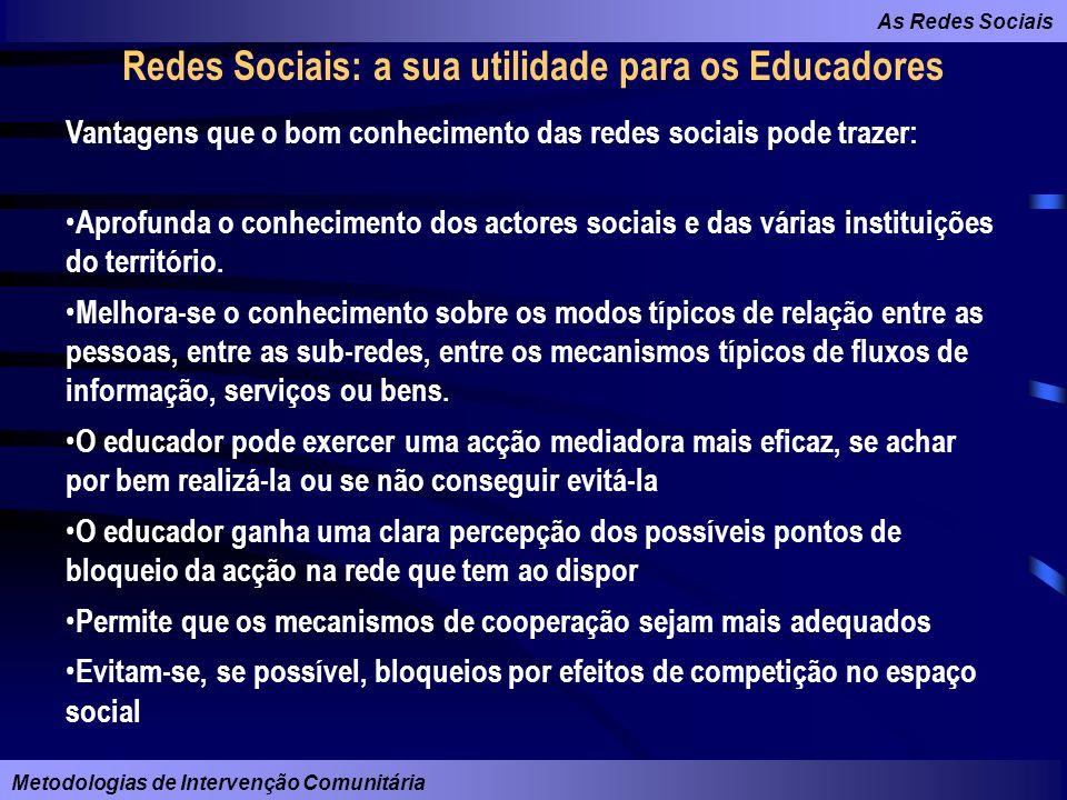 As Redes Sociais Metodologias de Intervenção Comunitária Redes Sociais: a sua utilidade para os Educadores Vantagens que o bom conhecimento das redes