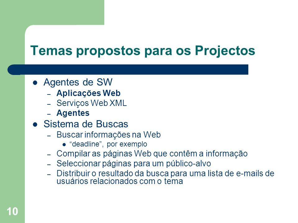 10 Temas propostos para os Projectos Agentes de SW – Aplicações Web – Serviços Web XML – Agentes Sistema de Buscas – Buscar informações na Web deadlin