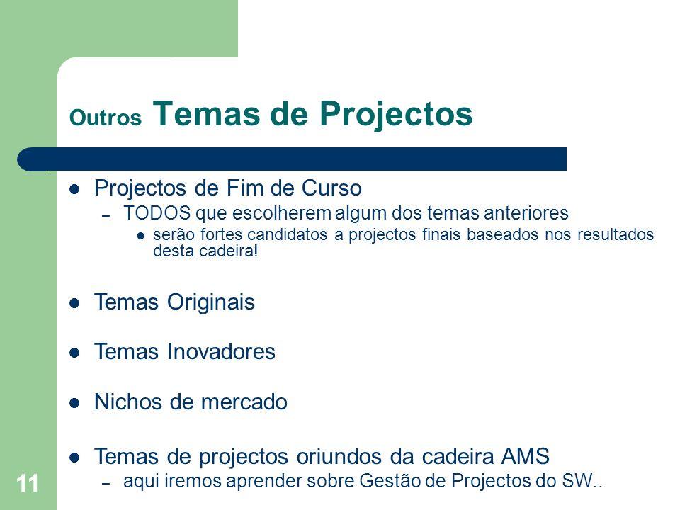 11 Outros Temas de Projectos Projectos de Fim de Curso – TODOS que escolherem algum dos temas anteriores serão fortes candidatos a projectos finais ba