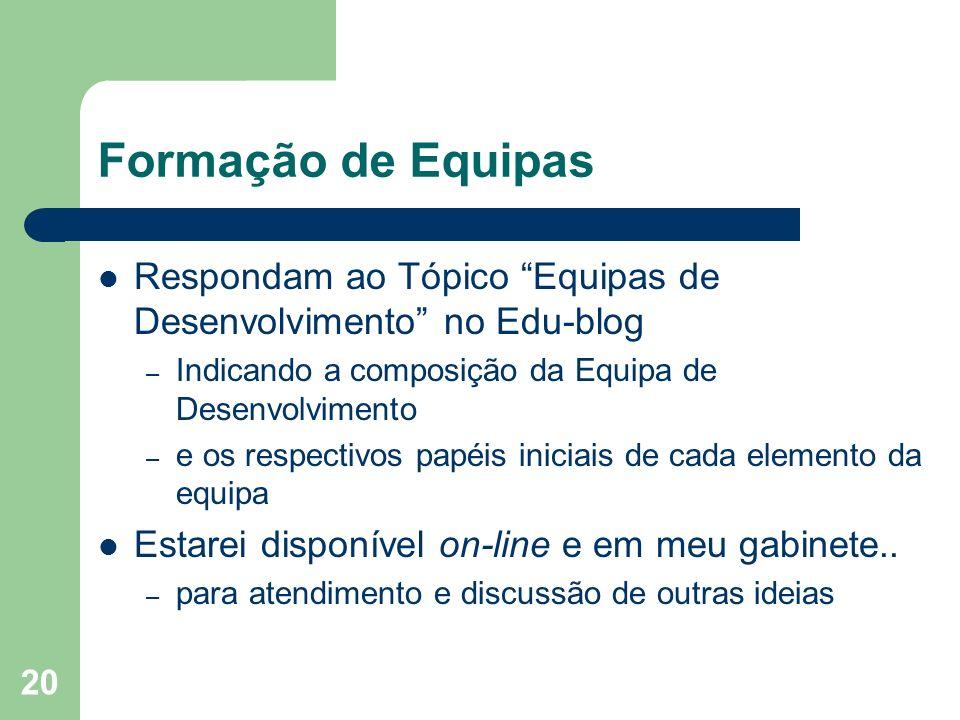 20 Formação de Equipas Respondam ao Tópico Equipas de Desenvolvimento no Edu-blog – Indicando a composição da Equipa de Desenvolvimento – e os respect