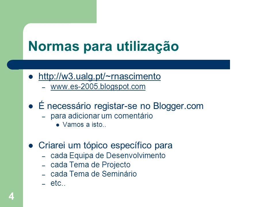 4 Normas para utilização http://w3.ualg.pt/~rnascimento – www.es-2005.blogspot.com www.es-2005.blogspot.com É necessário registar-se no Blogger.com –