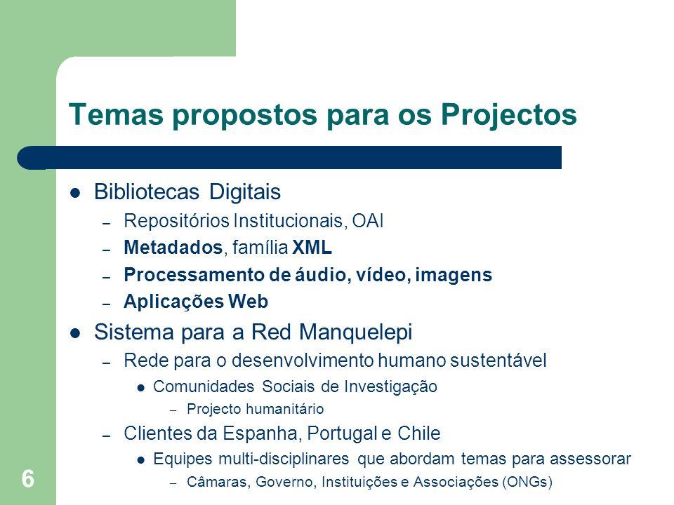 6 Temas propostos para os Projectos Bibliotecas Digitais – Repositórios Institucionais, OAI – Metadados, família XML – Processamento de áudio, vídeo,
