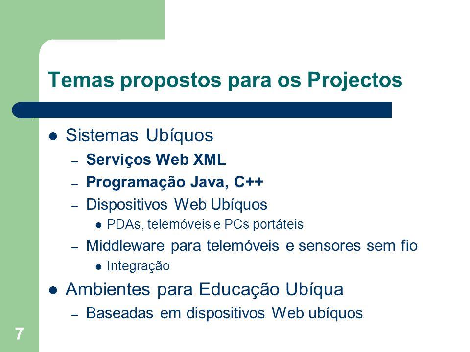7 Temas propostos para os Projectos Sistemas Ubíquos – Serviços Web XML – Programação Java, C++ – Dispositivos Web Ubíquos PDAs, telemóveis e PCs port