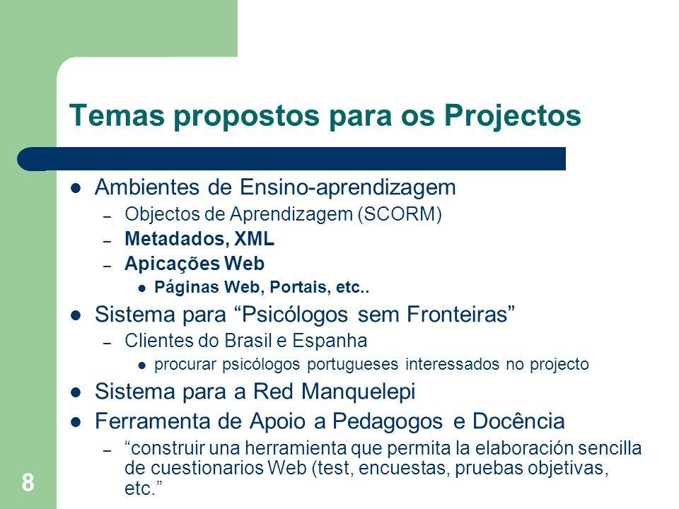 8 Temas propostos para os Projectos Ambientes de Ensino-aprendizagem – Objectos de Aprendizagem (SCORM) – Metadados, XML – Apicações Web Páginas Web,