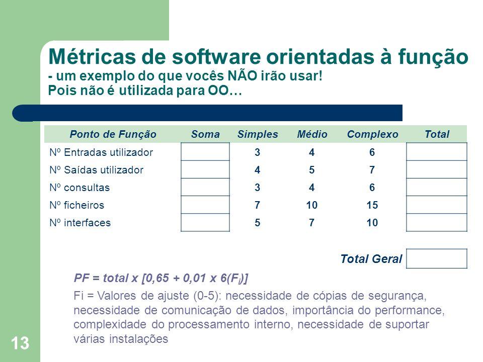 13 Métricas de software orientadas à função - um exemplo do que vocês NÃO irão usar! Pois não é utilizada para OO… Ponto de FunçãoSomaSimplesMédioComp