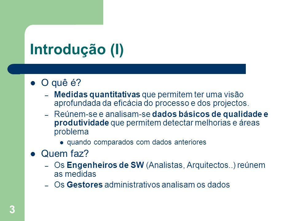 3 Introdução (I) O quê é? – Medidas quantitativas que permitem ter uma visão aprofundada da eficácia do processo e dos projectos. – Reúnem-se e analis