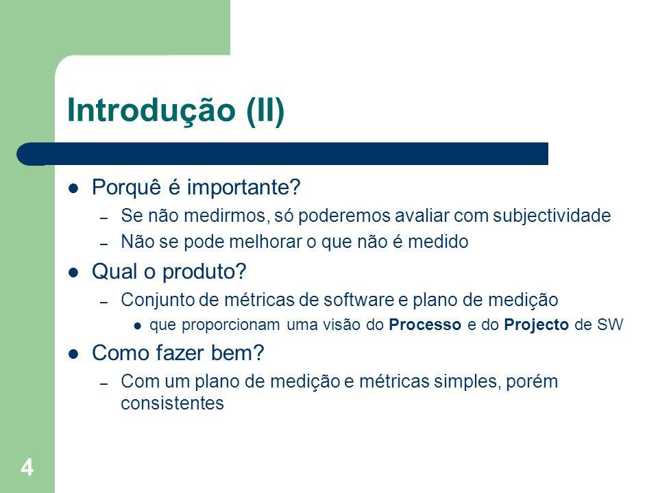 4 Introdução (II) Porquê é importante? – Se não medirmos, só poderemos avaliar com subjectividade – Não se pode melhorar o que não é medido Qual o pro