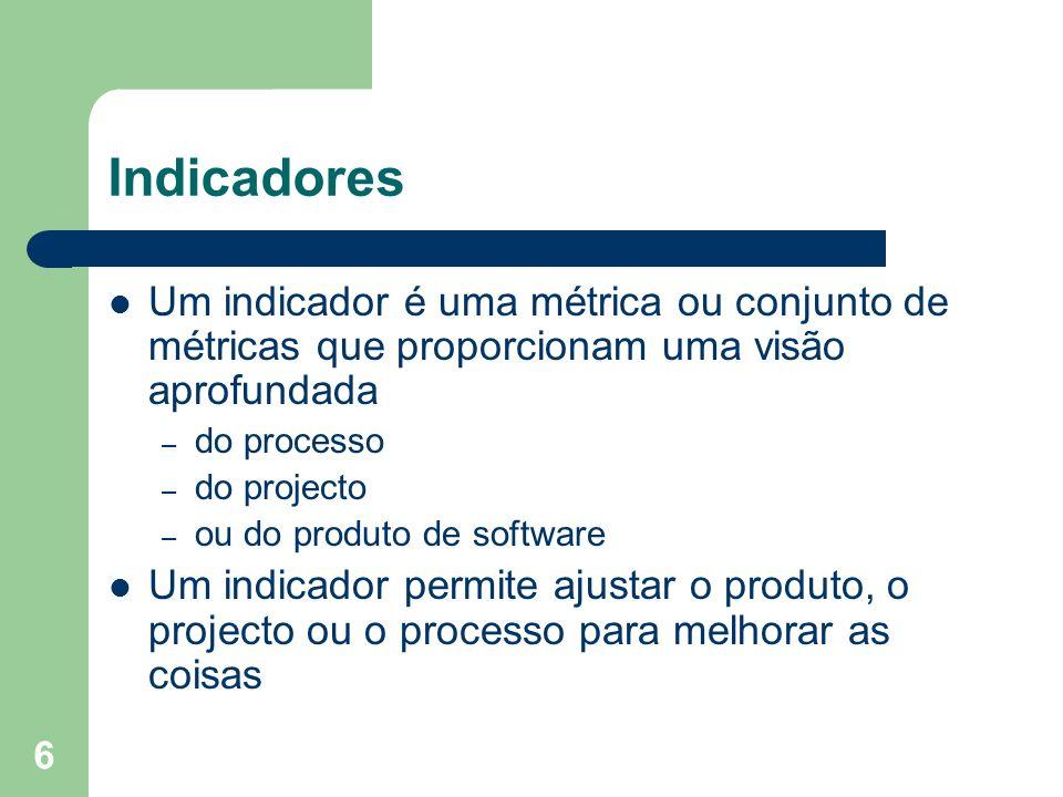 6 Indicadores Um indicador é uma métrica ou conjunto de métricas que proporcionam uma visão aprofundada – do processo – do projecto – ou do produto de