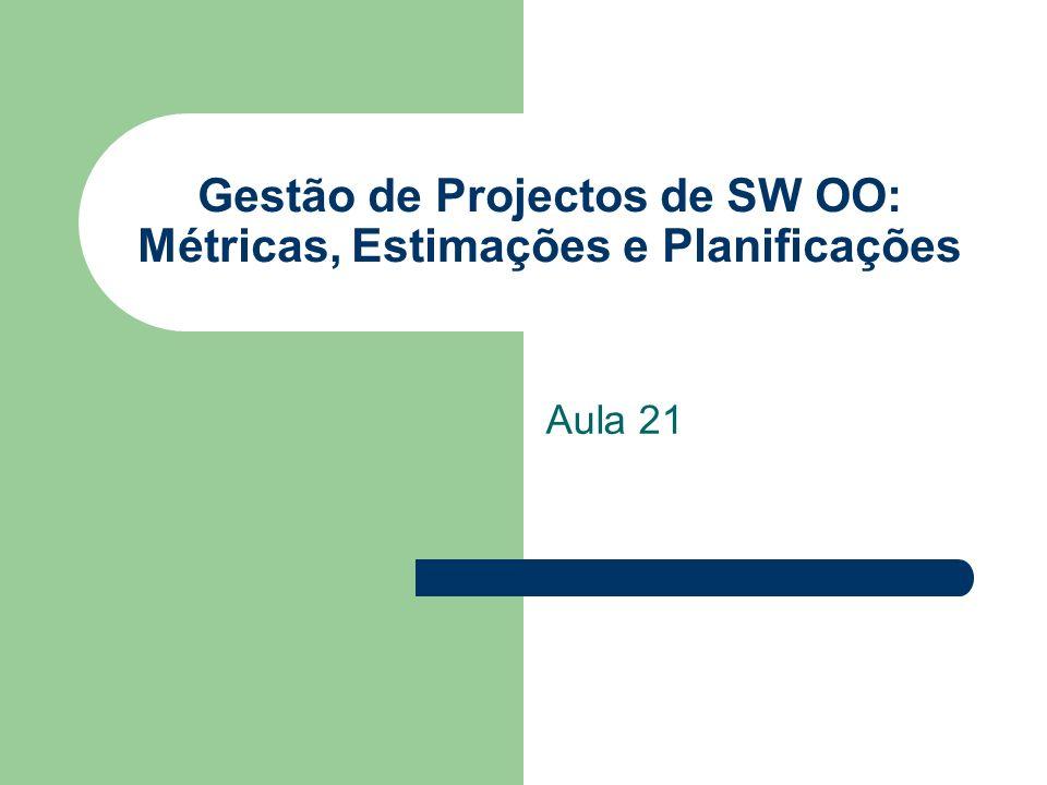 Gestão de Projectos de SW OO: Métricas, Estimações e Planificações Aula 21
