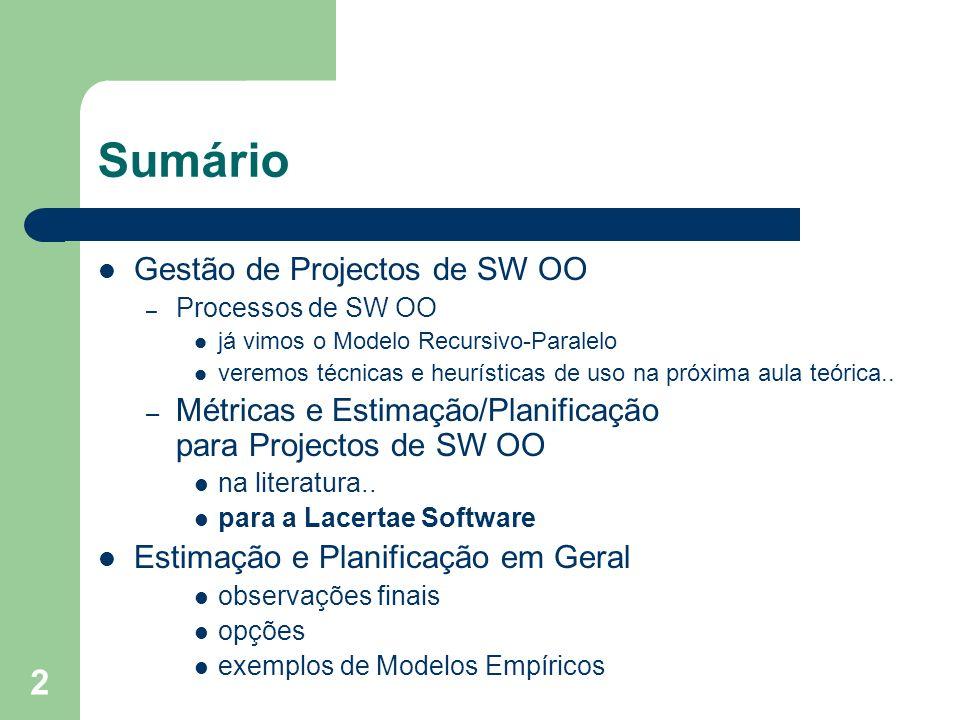 2 Sumário Gestão de Projectos de SW OO – Processos de SW OO já vimos o Modelo Recursivo-Paralelo veremos técnicas e heurísticas de uso na próxima aula