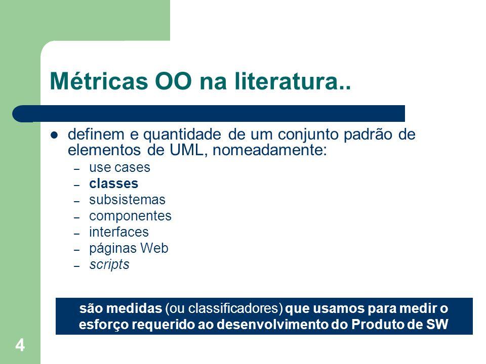 4 Métricas OO na literatura.. definem e quantidade de um conjunto padrão de elementos de UML, nomeadamente: – use cases – classes – subsistemas – comp