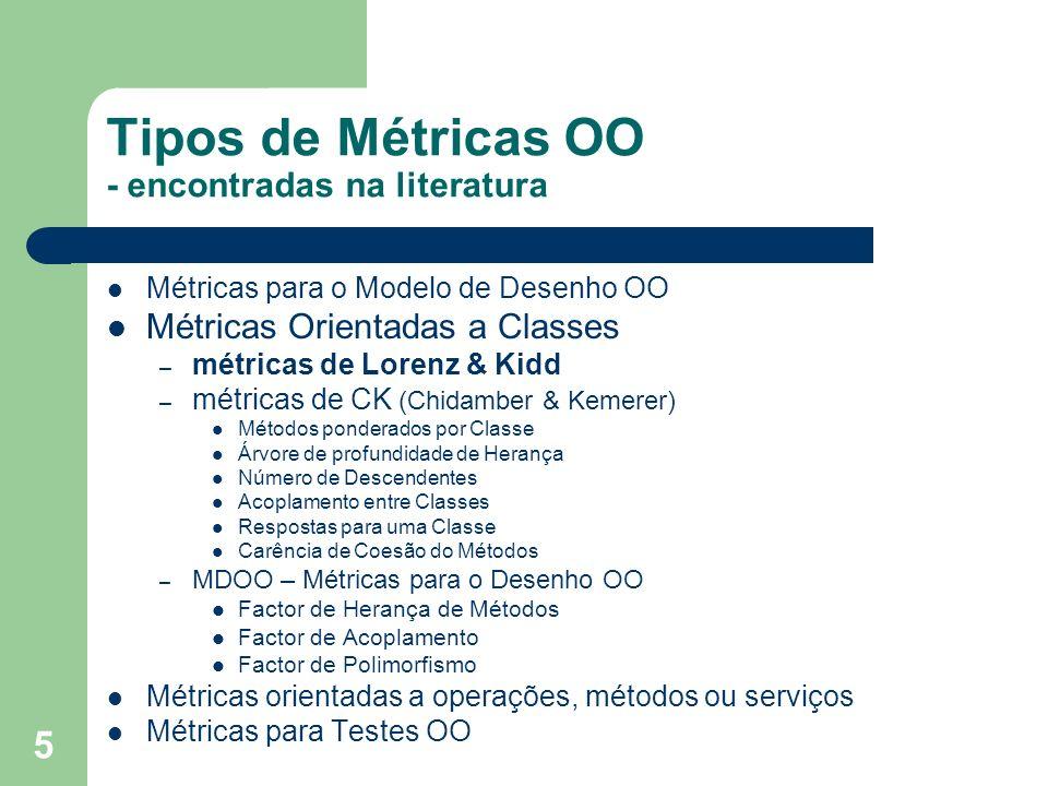 5 Tipos de Métricas OO - encontradas na literatura Métricas para o Modelo de Desenho OO Métricas Orientadas a Classes – métricas de Lorenz & Kidd – mé
