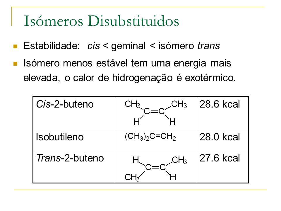 Isómeros Disubstituidos Estabilidade: cis < geminal < isómero trans Isómero menos estável tem uma energia mais elevada, o calor de hidrogenação é exot