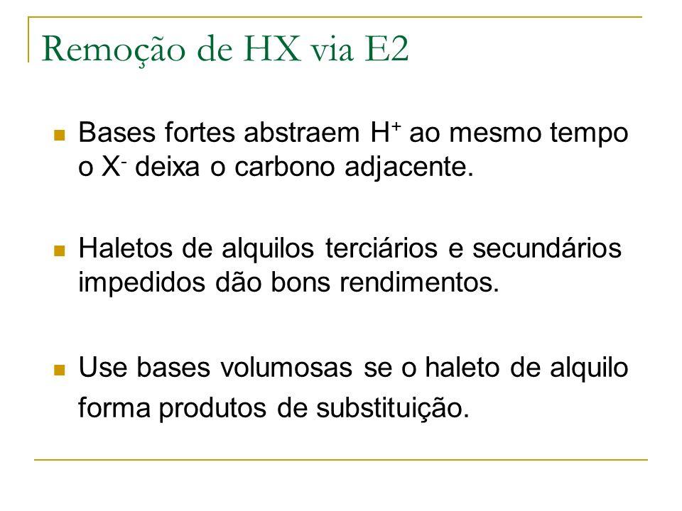 Remoção de HX via E2 Bases fortes abstraem H + ao mesmo tempo o X - deixa o carbono adjacente. Haletos de alquilos terciários e secundários impedidos
