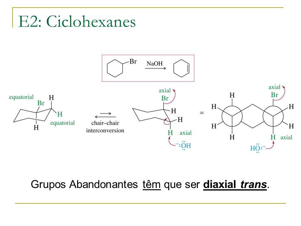 E2: Ciclohexanes Grupos Abandonantes têm que ser diaxial trans.