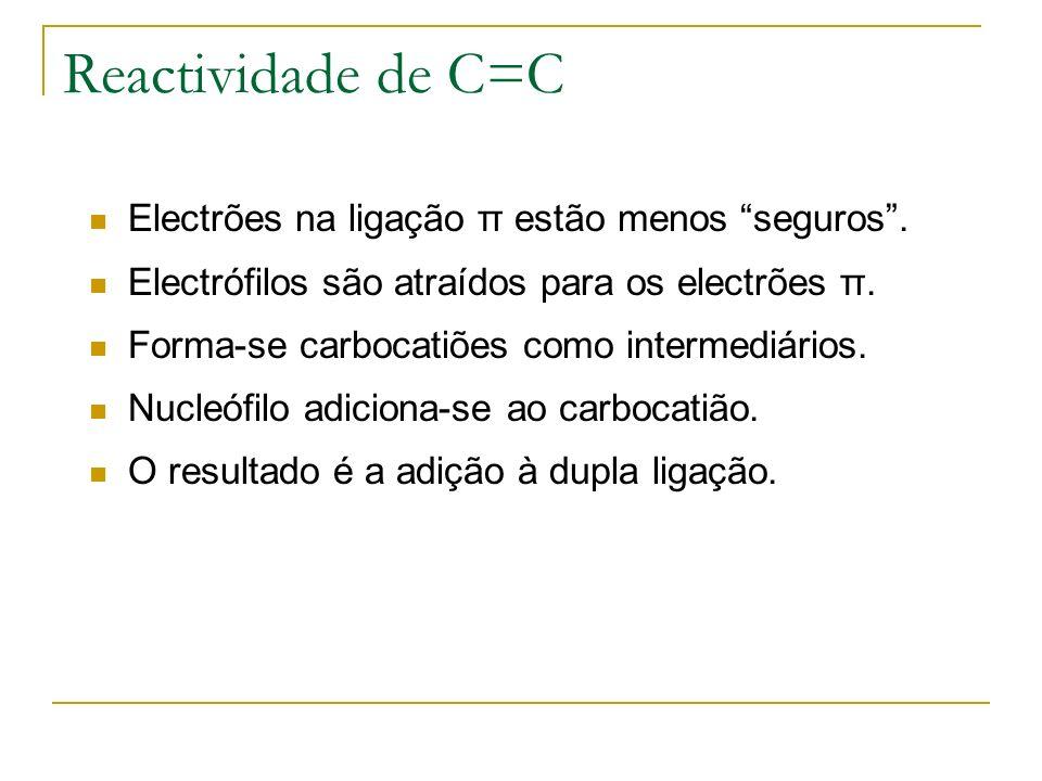Reactividade de C=C Electrões na ligação π estão menos seguros. Electrófilos são atraídos para os electrões π. Forma-se carbocatiões como intermediári