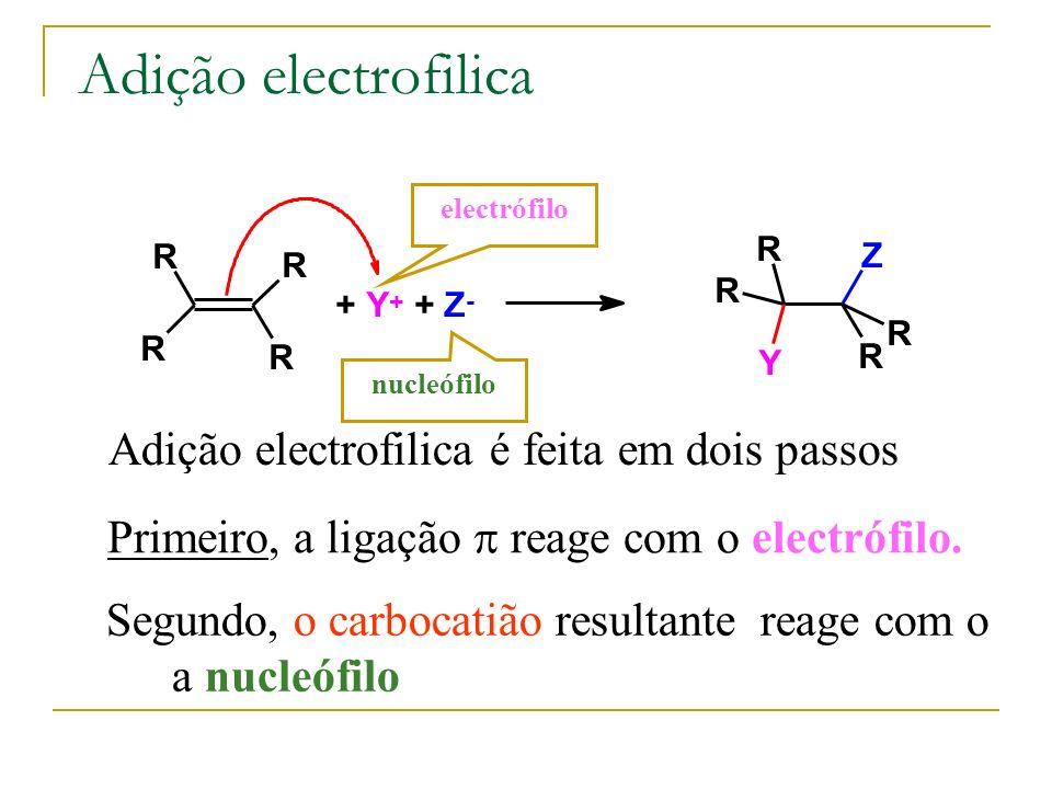 Adição electrofilica Adição electrofilica é feita em dois passos R R R R + Y + + Z - R R Y Z R R electrófilo nucleófilo Segundo, o carbocatião resulta
