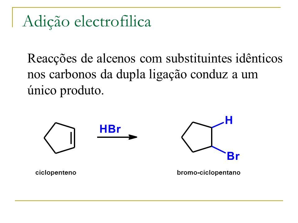 Adição electrofilica Reacções de alcenos com substituintes idênticos nos carbonos da dupla ligação conduz a um único produto. HBr H Br ciclopentenobro