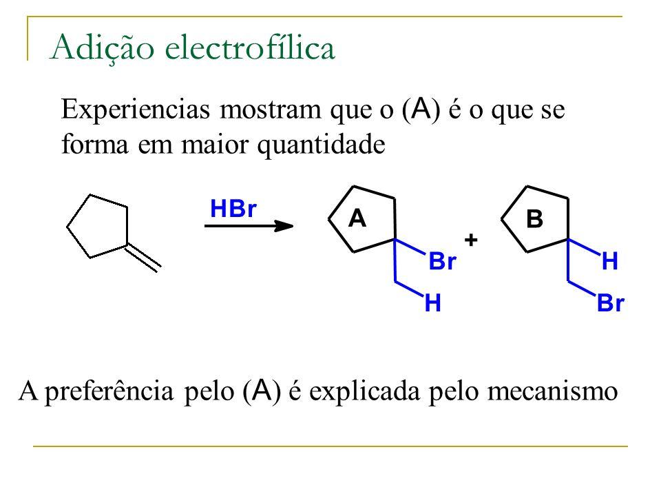 Adição electrofílica Experiencias mostram que o ( A ) é o que se forma em maior quantidade HBr Br H + H Br A preferência pelo ( A ) é explicada pelo m