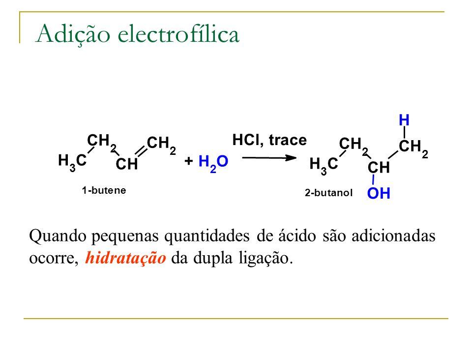 Adição electrofílica H 3 C CH 2 CH CH 2 + H 2 O HCl, trace OH H 3 C CH 2 CH CH 2 H 1-butene 2-butanol Quando pequenas quantidades de ácido são adicion
