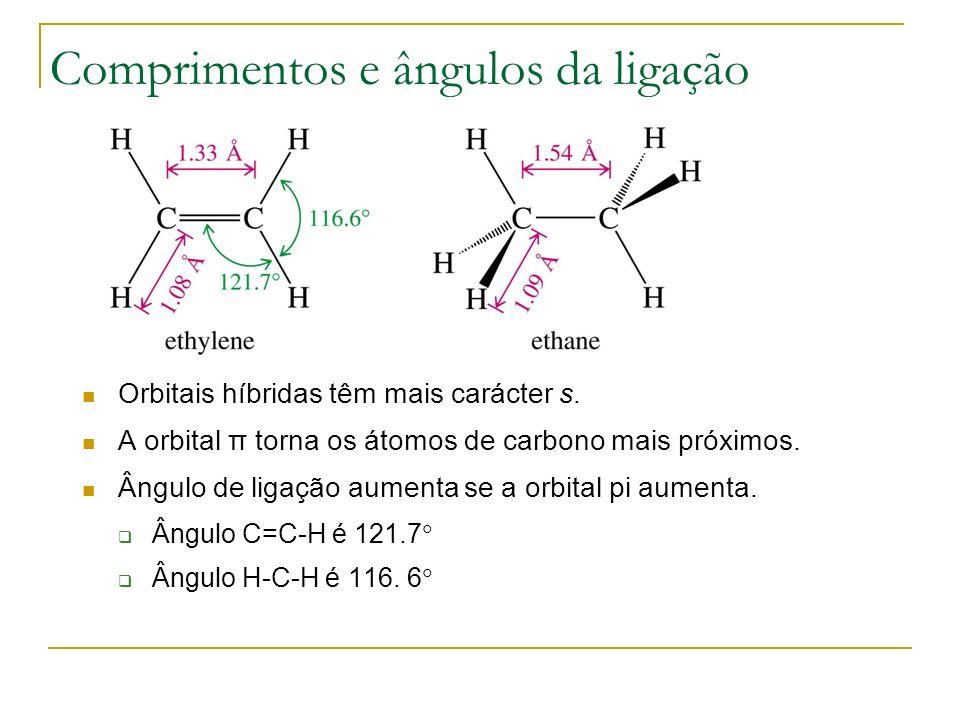 Adição electrofílica + CH 3 CH 2 OH H 3 C CH 3 CH 2 O H 2 CCH 3 H H fast H 3 C CH 3 CH 2 H nucleophilic attack of ethanol O carbocatião é atacado pelo álcool ethanol
