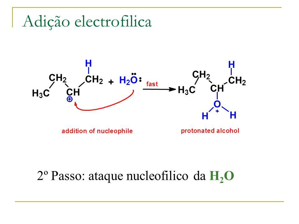 Adição electrofilica H 3 C CH 2 CH CH 2 H + H 2 O fast H 3 C CH 2 CH CH 2 H O H H addition of nucleophile protonated alcohol 2º Passo: ataque nucleofi