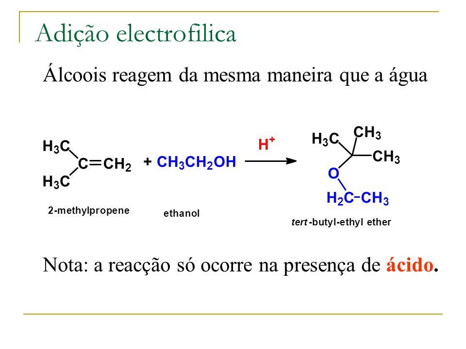 Adição electrofilica Álcoois reagem da mesma maneira que a água CCH 2 H 3 C H 3 C + CH 3 CH 2 OH H + H 3 C CH 3 CH 3 O H 2 CCH 3 2-methylpropene ethan