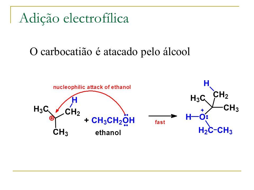 Adição electrofílica + CH 3 CH 2 OH H 3 C CH 3 CH 2 O H 2 CCH 3 H H fast H 3 C CH 3 CH 2 H nucleophilic attack of ethanol O carbocatião é atacado pelo