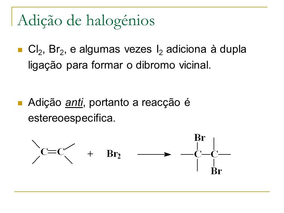 Adição de halogénios Cl 2, Br 2, e algumas vezes I 2 adiciona à dupla ligação para formar o dibromo vicinal. Adição anti, portanto a reacção é estereo