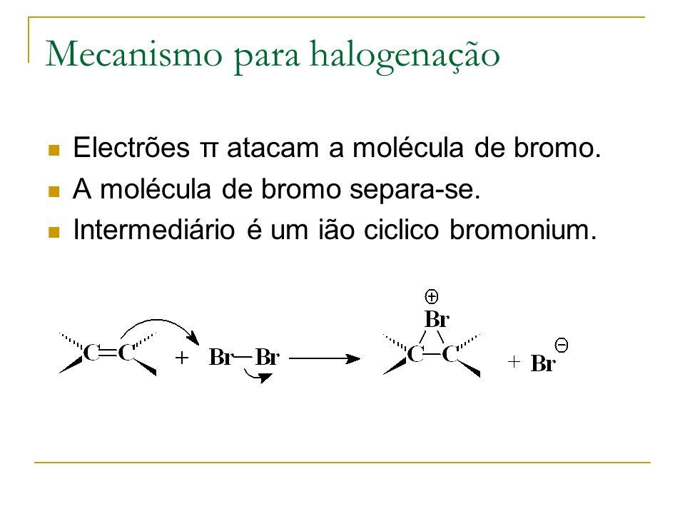 Mecanismo para halogenação Electrões π atacam a molécula de bromo. A molécula de bromo separa-se. Intermediário é um ião ciclico bromonium.